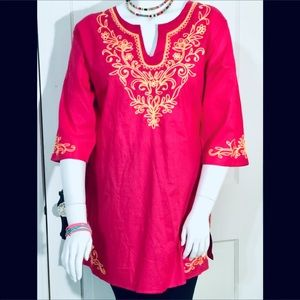 Tops - FIESTA EMBROIDERED TOP 💖 HOT PINK WEDDING BLOUSE